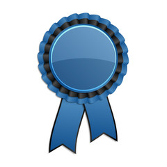 Blue and black award rosette with ribbon
