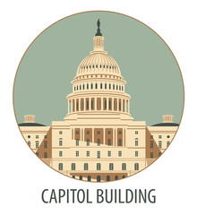 Vector illustration Capitol Building in Washington, DC
