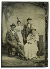 Wall Murals Imagination Tintype, circa 1880, USA, of family group posed in studio