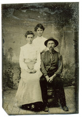 Tintype, circa 1880, USA, of family group posed in studio