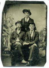 Tintype, circa 1880, USA, of three men posed in studio