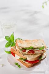 Healthy homemade caprese sandwich