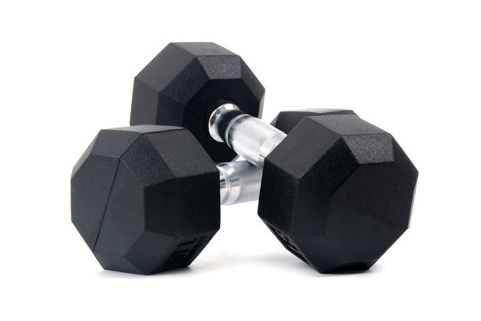pair of dumbbells isolated on white background