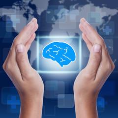 Hand showing brain symbol. medical concept