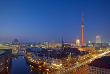 Berlin Mitte Skyline at evening, Berlin, Germany, Europe