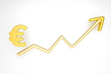 increasing graph with euro symbol