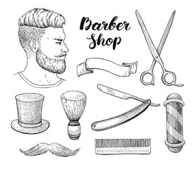 Vector vintage hand drawn Barber Shop set. Detailed illustration