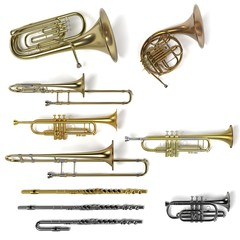 3d rendering of brass musical instruments