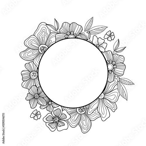 Doodle flowers and leaves hand drawn zentangle style round vector ...