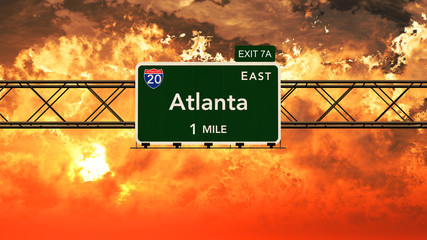 Atlanta USA Interstate Highway Sign in a Beautiful Cloudy Sunset