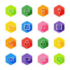 white line web icon set on colorful hexagon with shadow for web design, user interface (UI), infographic and mobile application (apps)