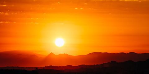 Canvas Prints Cuban Red Amazing Sunset Sunrise With Sun Over Dark Mountain Ground Silhou