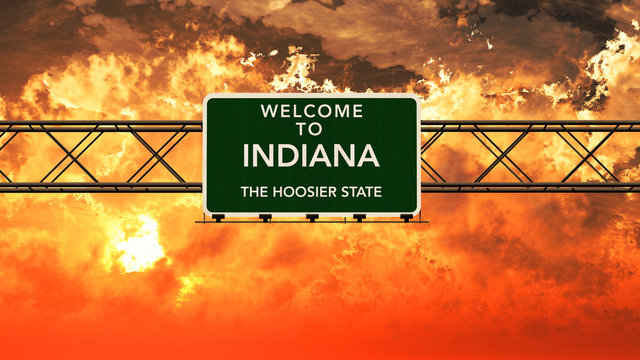 Welcome to Indiana USA Interstate Highway Sign in a Breathtaking