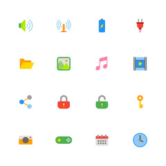 colorful simple web icon set for web design, user interface (UI), infographic and mobile application (apps)