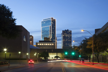 Street in the city of Fort Worth at night. Texas, USA