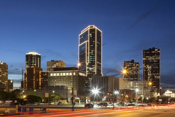 Fort Worth downtown at night. Texas, USA