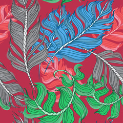 Vector illustration seamless pattern of flying feathers