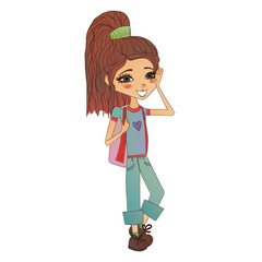 Cute Colorful Vector Fashion Girl Illustration with a Cute Fashion Kid Wearing Stylish Clothes, Pretty School Fashion Girl for Fashion Magazines, Books Illustration or Web Design, Vector Fashion Kid