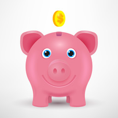 Vector 3d piggy bank. Golden coin. Business vector illustration. Piggy bank isolated with shadow. Vector piggy toy. Smile pig.