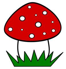 cute cartoon red mushroom isolated on white background vector illustration