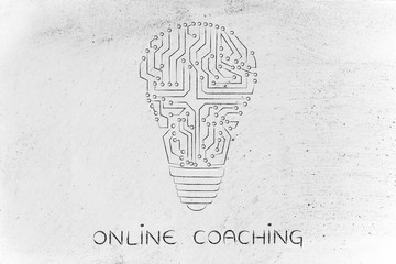 lightbulb made of electronic circuits, online coaching
