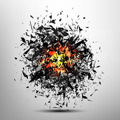 Vector explosion. Particles comosition. Abstract blast background.
