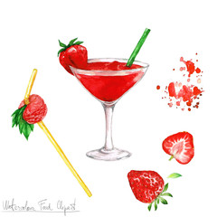 Watercolor Food Clipart - Daiquiri