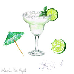 Watercolor Food Clipart - Margarita