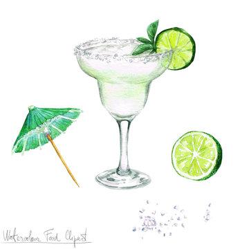 Watercolor Food Clipart - Margarita