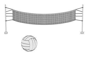2d cartoon illustration of volleyball set