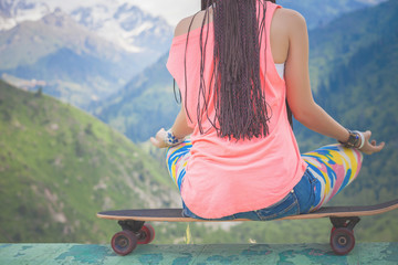 Closeup image of hipster fashion girl doing yoga