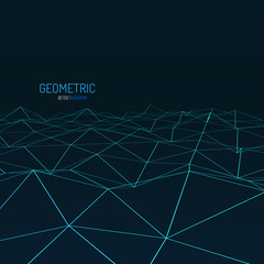 Technology vector background. Wireframe polygonal landscape. Mountains with connected lines.