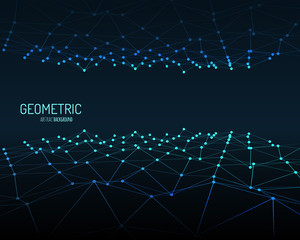Technology vector background. Wireframe polygonal landscape. Mountains with connected lines and dots.