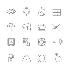 Protection and security outline icons