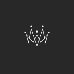 Monogram jewel crown logo, jewelry emblem mockup, linked thin lines style