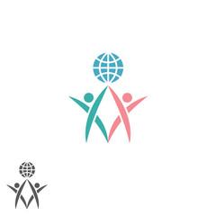 Partnership logo, atlas silhouette two men together hold globe,  success teamwork emblem, global social community icon