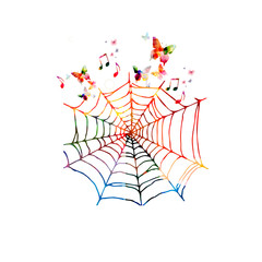 Colorful spider web with butterflies
