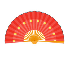 Chinese fan vector illustration. Folding fan isolated on white background