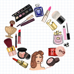 Hand drawn images Cosmetics and Perfume