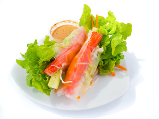 Salad vegetables roll by noodle with crab stick