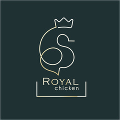 royal chicken logo award. One stroke line silhouette chicken with crown. Poultry award stamp.