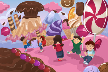 Kids Playing in a Dessert Land