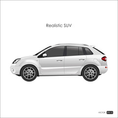 Realistic model of SUV on white background. Detailed drawing of