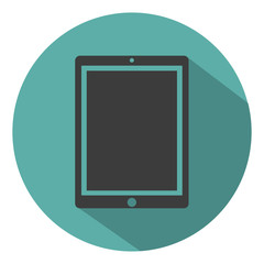 Tablet computer icon flat style with shadow, isolated on a green background, vector illustration for web design
