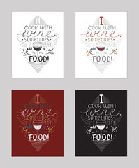 Vector illustration with motivationg inspirational quote about love to wine and alcohol drinks. Set of isolated background hand drawn typography, colorful, perfect for cafe or restaurant.