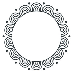 Doodle zentangle monochrome vector frame on white background