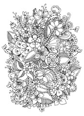 Vector illustration of flowers zentangl. Black and white. Adult coloring books.