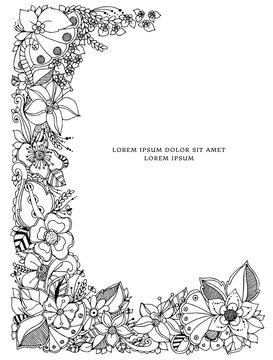 Vector illustration of floral frame zentangle, doodling. Zenart, doodle, flowers. Black and white. Adult coloring books