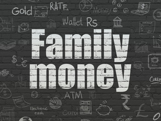 Currency concept: Family Money on wall background