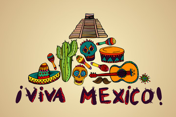 Seamless pattern with mexican symbols - Viva Mexico. Isolated on